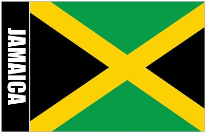 6x Oversize Postcard Of Jamaica Flag with Coat Of Arms on Back (